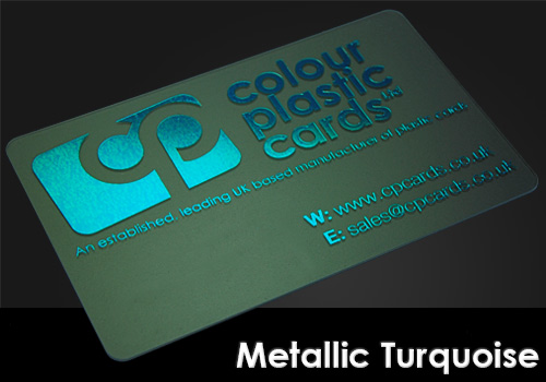 metallic turquoise printed on a frosted plastic card