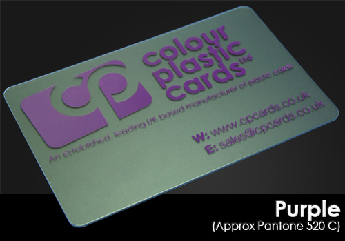 purple printed on a frosted plastic card