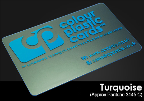 turquoise printed on a frosted plastic card