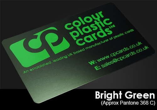 bright green printed on a satin black plastic card