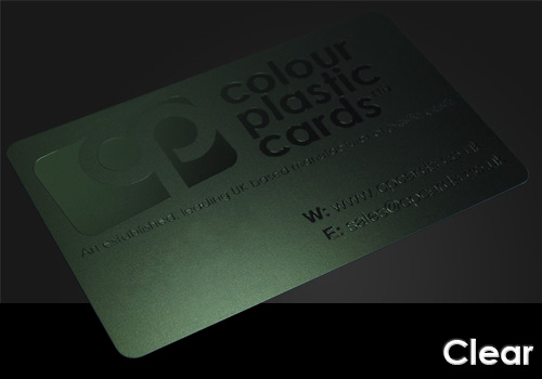 clear printed on a satin black plastic card