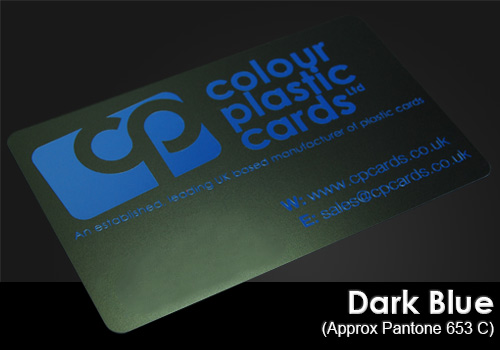 dark blue printed on a satin black plastic card