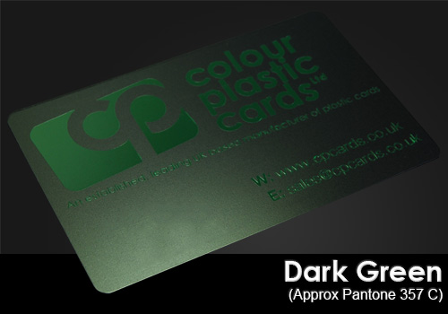 dark green printed on a satin black plastic card