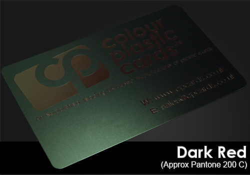 dark red printed on a satin black plastic card