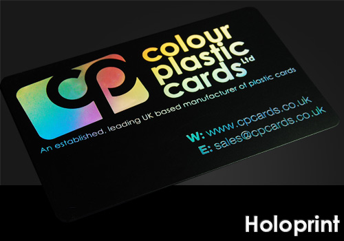 holoprint printed on a satin black plastic card