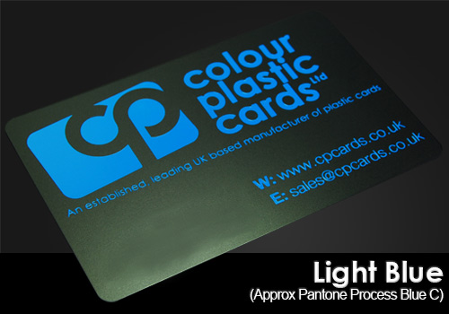 light blue printed on a satin black plastic card