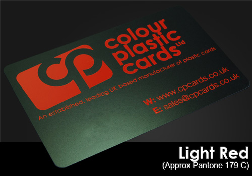 light red printed on a satin black plastic card