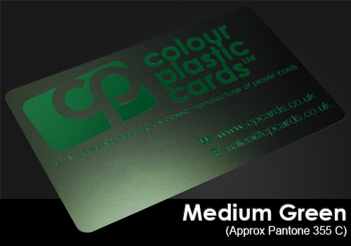 medium green printed on a satin black plastic card