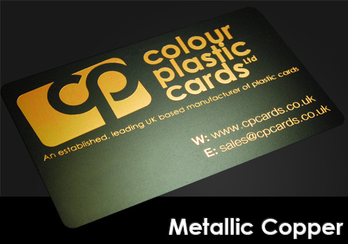 metallic copper printed on a satin black plastic card