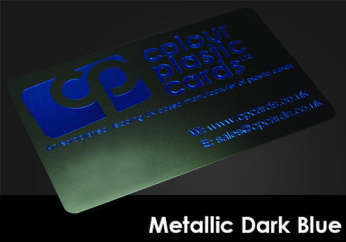 metallic dark blue printed on a satin black plastic card