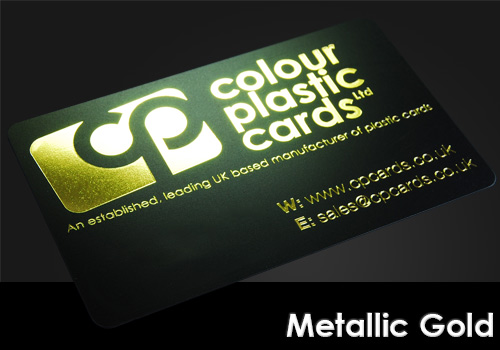metallic gold printed on a satin black plastic card