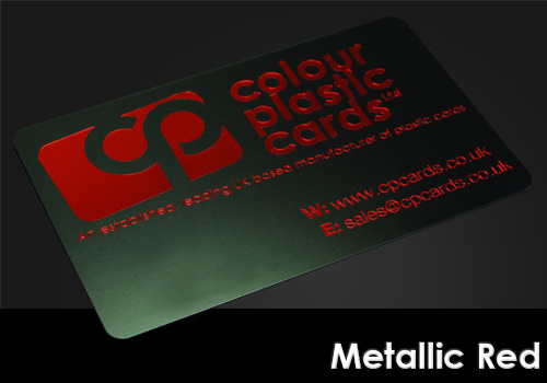 metallic red printed on a satin black plastic card