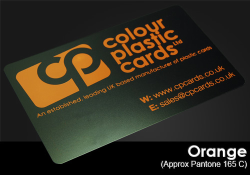 orange printed on a satin black plastic card