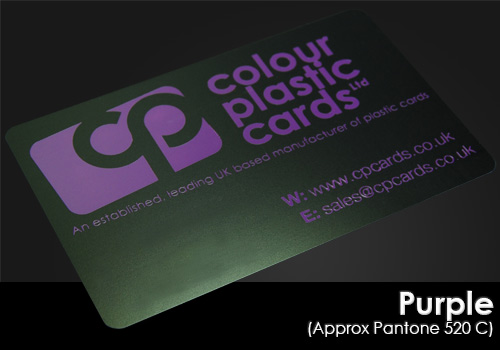 purple printed on a satin black plastic card