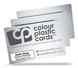 Dark grey - Approx Pantone: Cool Grey 11 - Note: Important wording printed with grey ink on a frosted plastic card may be hard to read