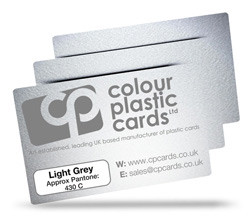 Light grey - Approx Pantone: 430C - Note: Important wording printed with grey ink on a frosted plastic card may be hard to read