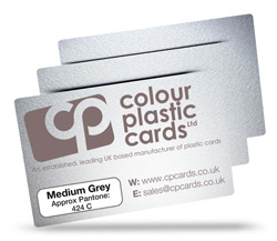 Medium grey - Approx Pantone: 424C - Note: Important wording printed with grey ink on a frosted plastic card may be hard to read