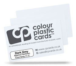 Dark grey - Approx Pantone: Cool Grey 11 - Note: Important wording printed with grey ink on a white plastic card may be hard to read