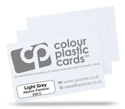 Light grey - Approx Pantone: 430C - Note: Important wording printed with grey ink on a white plastic card may be hard to read