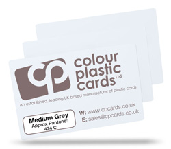 Medium grey - Approx Pantone: 424C - Note: Important wording printed with grey ink on a white plastic card may be hard to read
