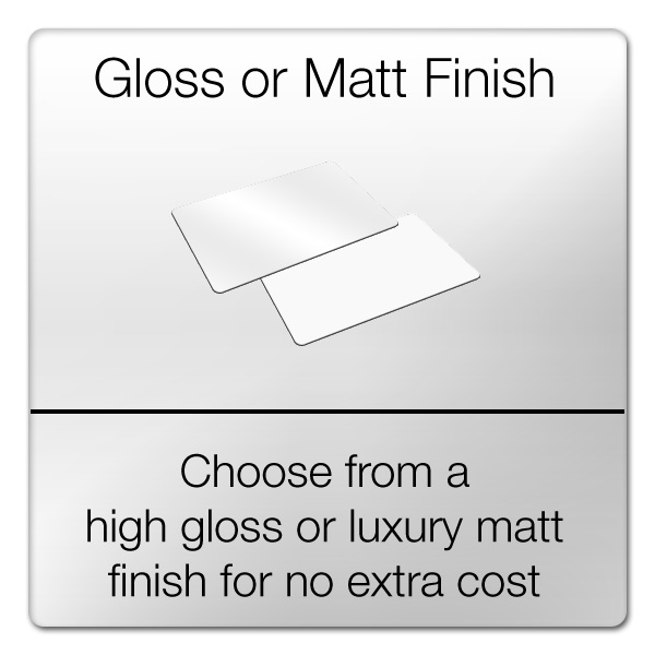 choose from gloss or matt finish