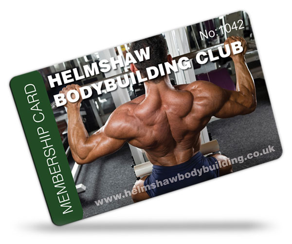 bodybuilding club membership card examples