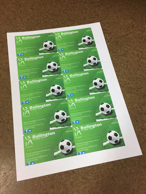 Membership Cards printed 10 up to an A4 sheet