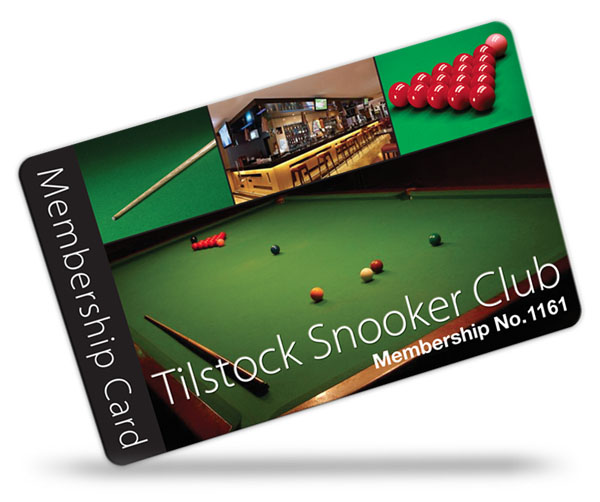 snooker club and pool club membership card examples