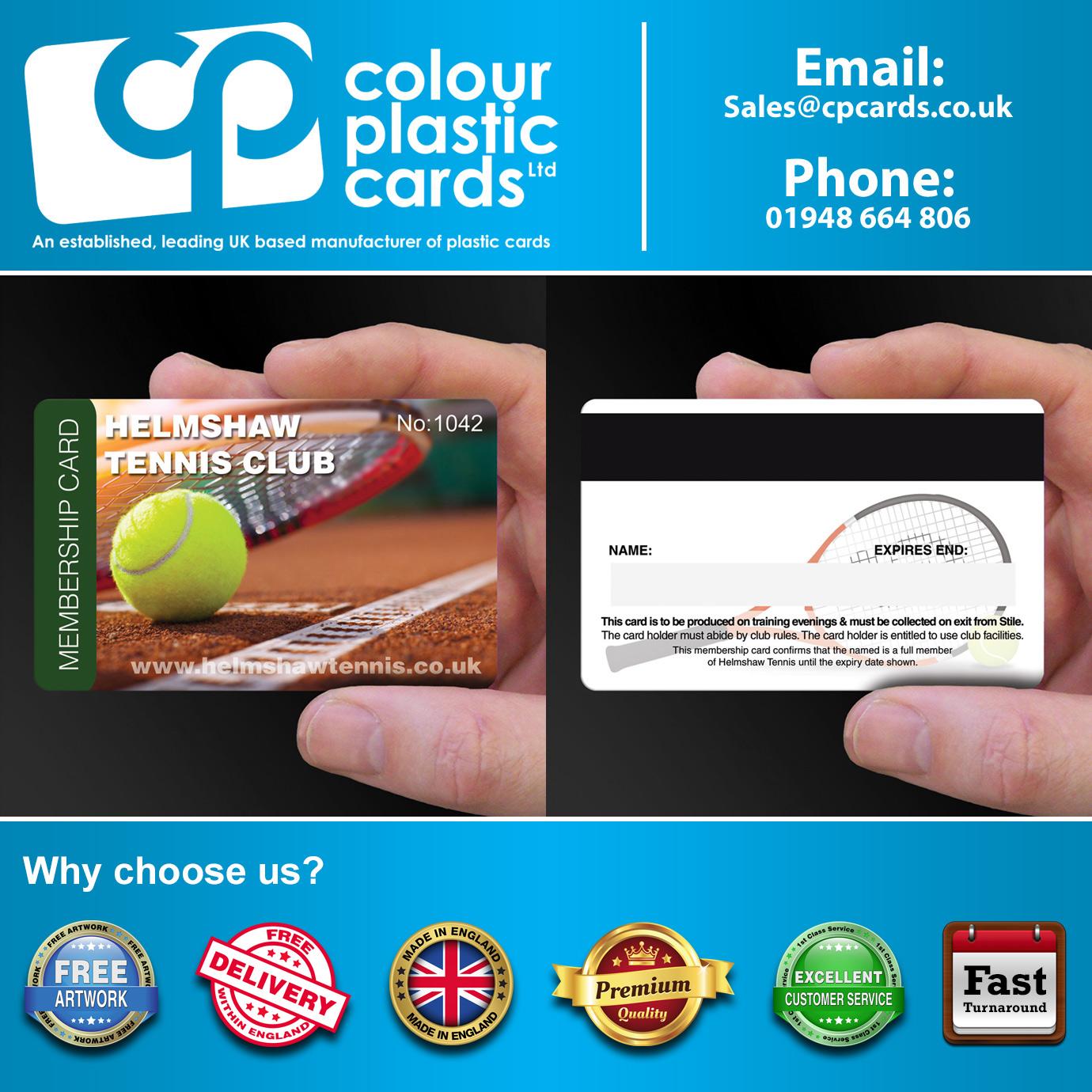 Tennis Club Membership Card Printing - CPcards