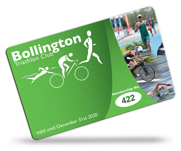 triathlon club and pool club membership card examples