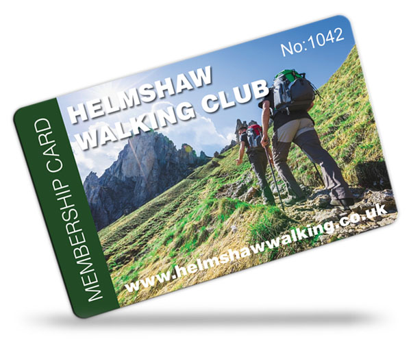 walking club membership card examples