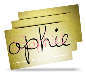 Sophie's florist metallic plastic business card