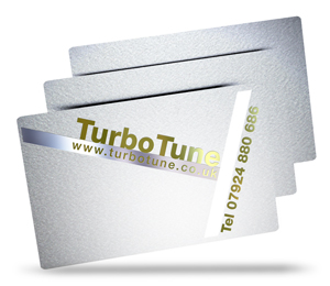TurboTune's metallic plastic business card