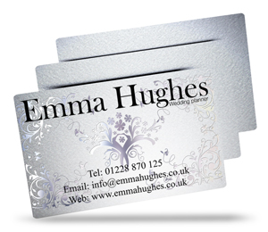 Emma Hughes metallic plastic business card