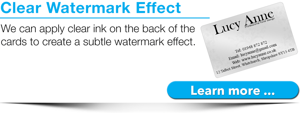 clear ink printed to create a watermark