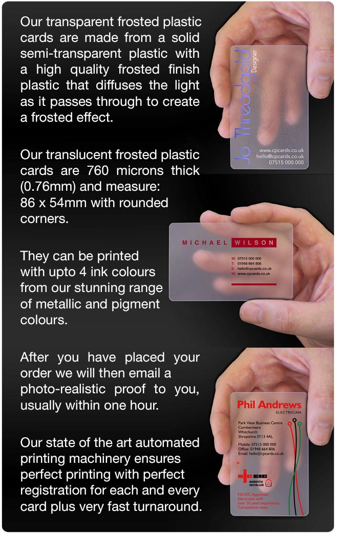 Transparent business cards translucent plastic cards cpcards transparent plastic card pic 6 reheart Gallery