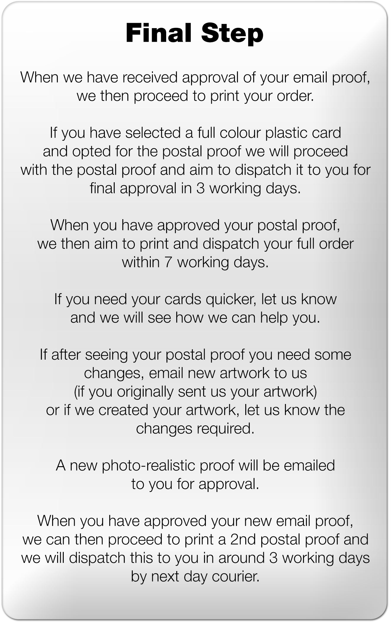 final step to order your plastic cards