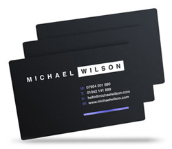 Michael Wilson satin black plastic business cards