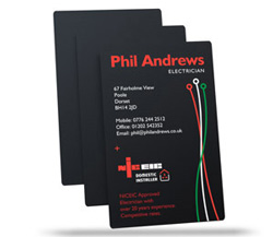 satin black plastic business cards