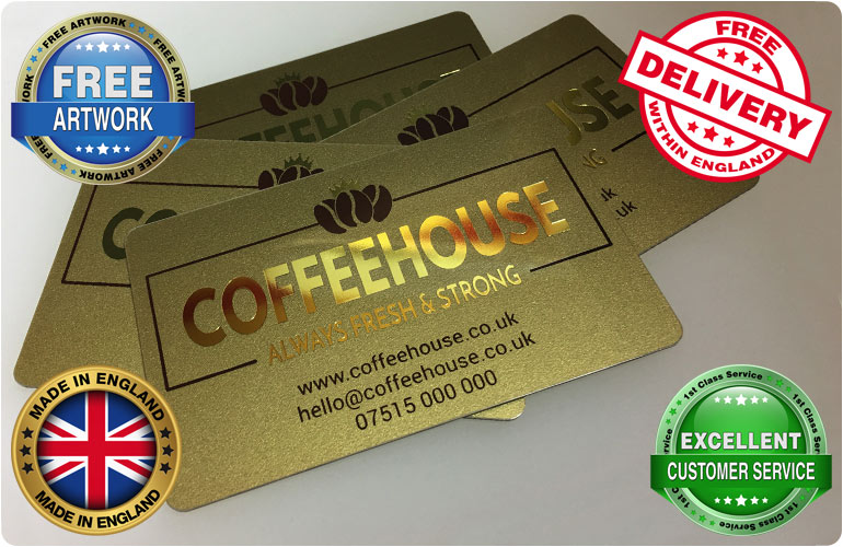 Metallic plastic business cards printed cpcards 1 reheart Choice Image