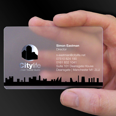 plastic business cards for Simon Eastman, a tourist guide from Manchester is design of the week