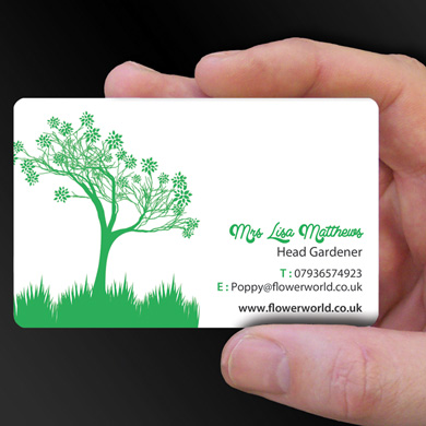 plastic card printing for Lisa Matthews, a gardener from Warwick, is design of the week