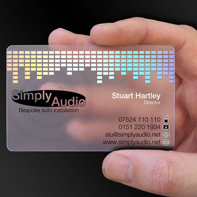 plastic card printing for Simply Audio, a bespoke audio installation company from Wigan is design of the week
