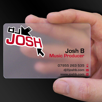 plastic card printing for Josh B - a DJ from Colchester, is design of the week