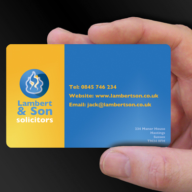 Plastic Cards for Lambert and Son Solicitors is design of the week