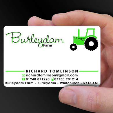 plastic card printing for Richard Tomlinson - a Farmer from Whitchurch, Shropshire is design of the week