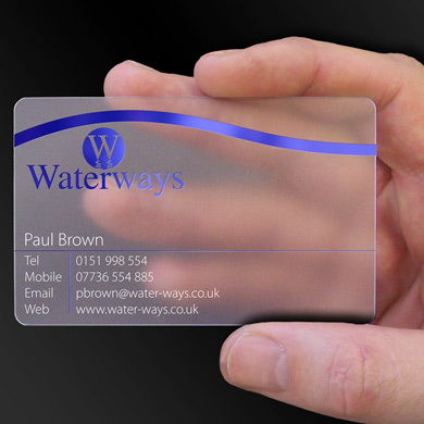 plastic card printing for Waterways, a bespoke bathroom design and Installation company from Shrewsbury, is design of the week