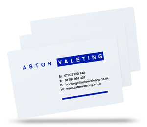 Aston Valeting white plastic business card